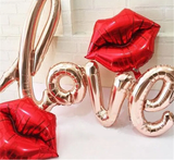 Love Script Letters Foil Balloon with Lips - Funzoop