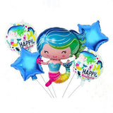 Mermaid 5 in 1 Foil Balloons Bouquet Set [5 Pcs] - Funzoop