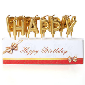 Metallic Happy Birthday Cake Candles Set - Golden - Funzoop