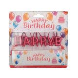 Metallic Happy Birthday Cake Candles Set - Red - Funzoop