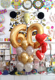 Milestone Sixty Number Balloons Bouquet with Foil Hearts Bunch (BQ09)