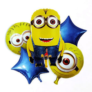 Minions Theme 5 in 1 Foil Balloons Bouquet Set [5 Pcs] - Funzoop
