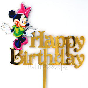 Minnie Mouse Theme Birthday Cake Topper - Funzoop