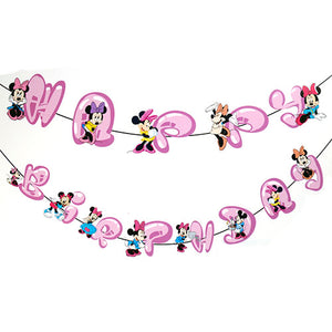 Minnie Mouse Theme Birthday Wall Decoration Banner - Funzoop