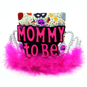 Mommy to Be Fur Crown Tiara - Funzoop