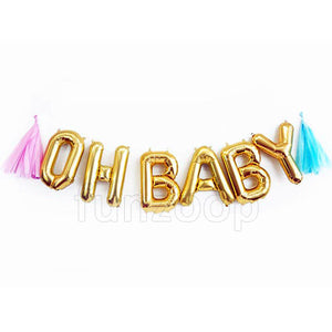 OH BABY Foil Banner with Tassels - Funzoop