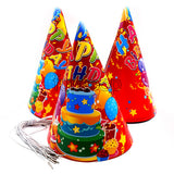 Party Hats Set Red Happy Birthday Print 10 nos Funzoop - The Party Shop