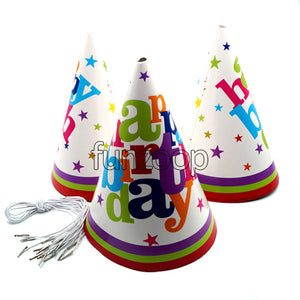 Party Hats Set White Happy Birthday Print 10 nos Funzoop - The Party Shop