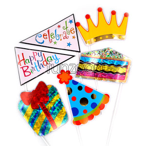 Photo Booth Stick Props Hat Crown Flags Cake - Funzoop The Party Shop