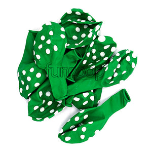 Polka Dots Latex Balloons Green - Funzoop The Party Shop