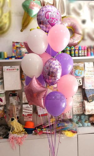 Princess Balloons Bouquet Set [16 Pcs] Helium Inflated - Funzoop The Party Shop