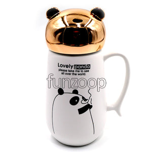 Printed White Ceramic Mug with Lid Closed Panda - Funzoop The Party Shop