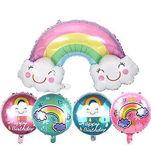 Rainbow Theme 5 in 1 Foil Balloons Bouquet Set [5 Pcs] - Available with Uninflated and Helium Inflated options