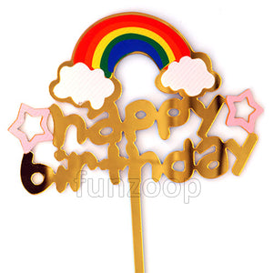 Rainbow Theme Birthday Cake Topper - Funzoop