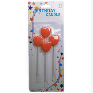 Red Heart Stick Candles - 5 Pcs - Funzoop