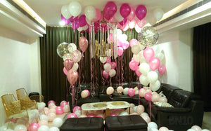 Romantic Room Decor with Assorted Foil and Latex Balloons - Funzoop The Party Shop