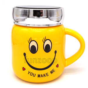 "Smiley Yellow ""You Make Me"" Mug with lid - Funzoop"