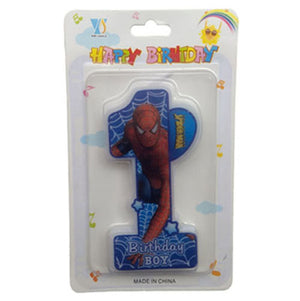 Spiderman Theme 1st Birthday Candle - Funzoop
