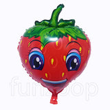 Smiling Face Strawberry Shaped Foil Balloon - Funzoop