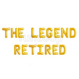 THE LEGEND RETIRED Foil Balloons Banner - Golden - Funzoop