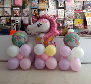 Unicorn Foil Balloon Centerpieces - Set of 3 centerpieces