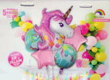 Unicorn Theme 5 in 1 Foil Balloons Bouquet Set [5 Pcs] - Funzoop