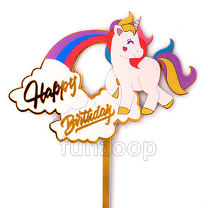Unicorn Theme Birthday Cake Topper - Funzoop