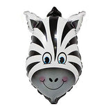 Cute Zebra Face Shaped Jungle Theme Foil Balloon - Funzoop The Party Shop