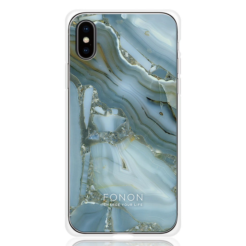 DAMPER GLASS iPhone CASE - STONE PLANET - Blue Opal