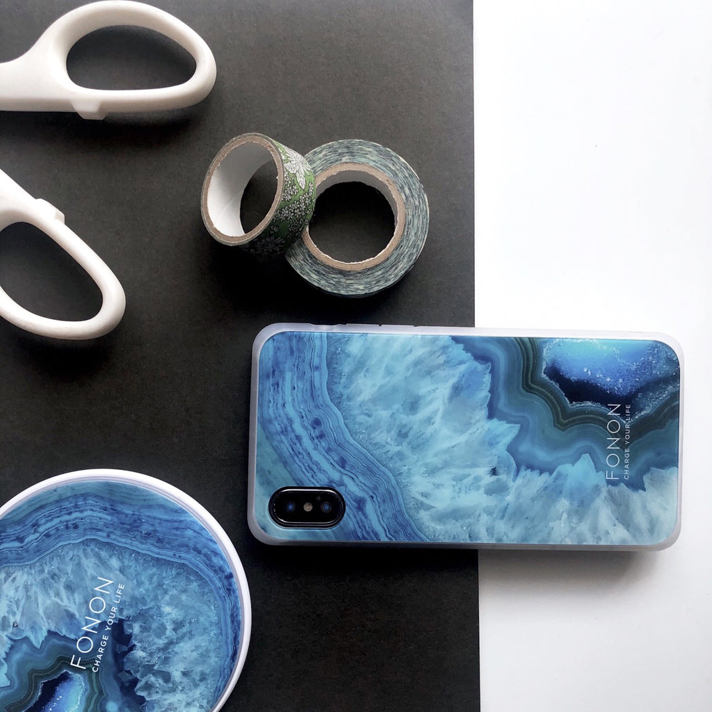 DAMPER GLASS iPhone CASE - STONE PLANET - Agate Earth Blue