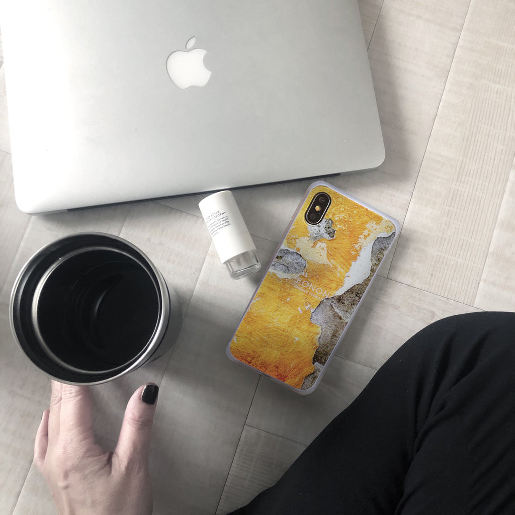 DAMPER GLASS iPhone CASE - STONE PLANET - Paint Wall AshYellow