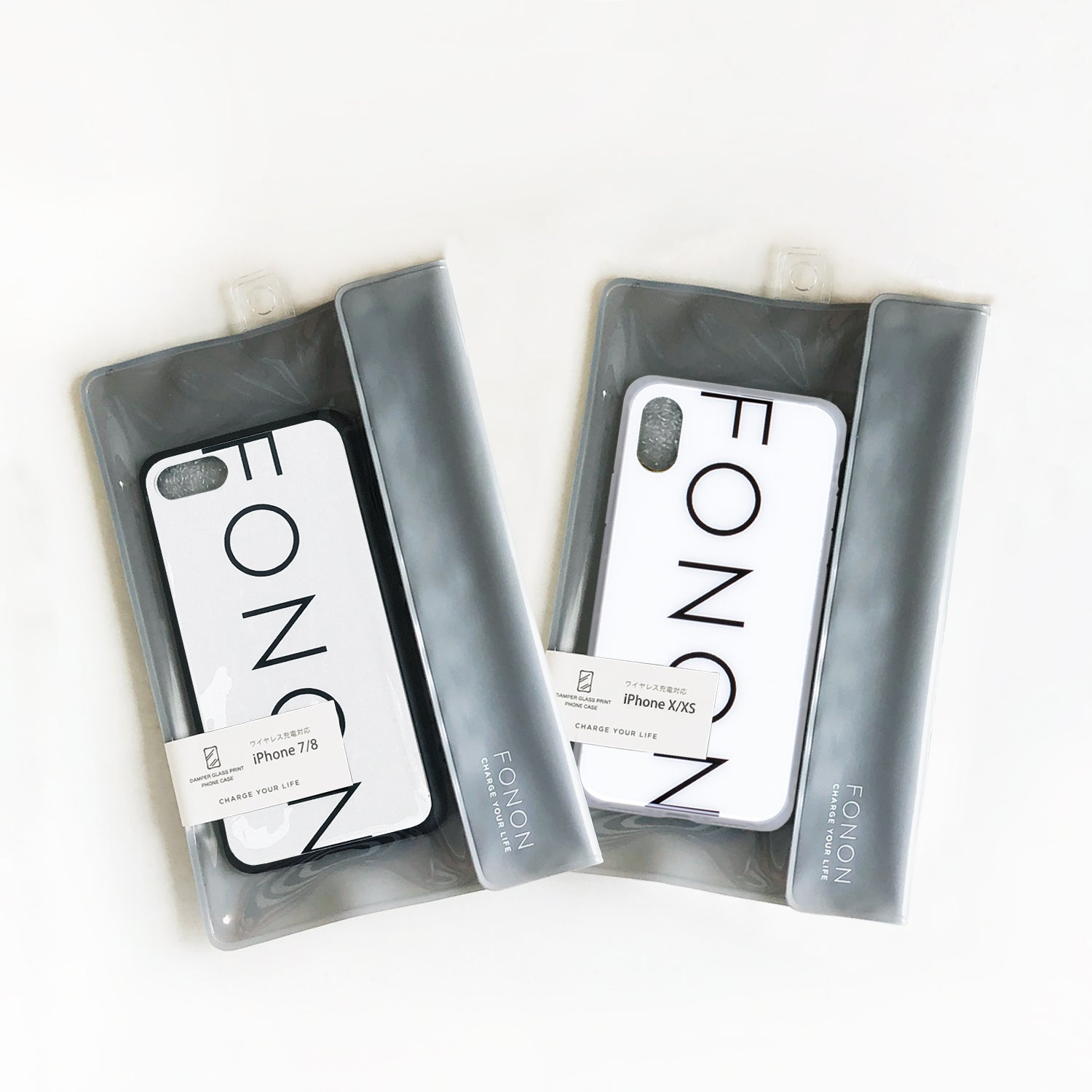 DAMPER GLASS iPhone CASE - TYPO SERIES - FONON White