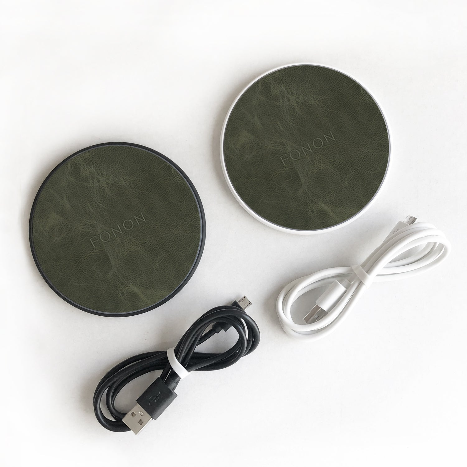 WIRELESS CHARGING BASE - LEATHER SERIES - Khaki