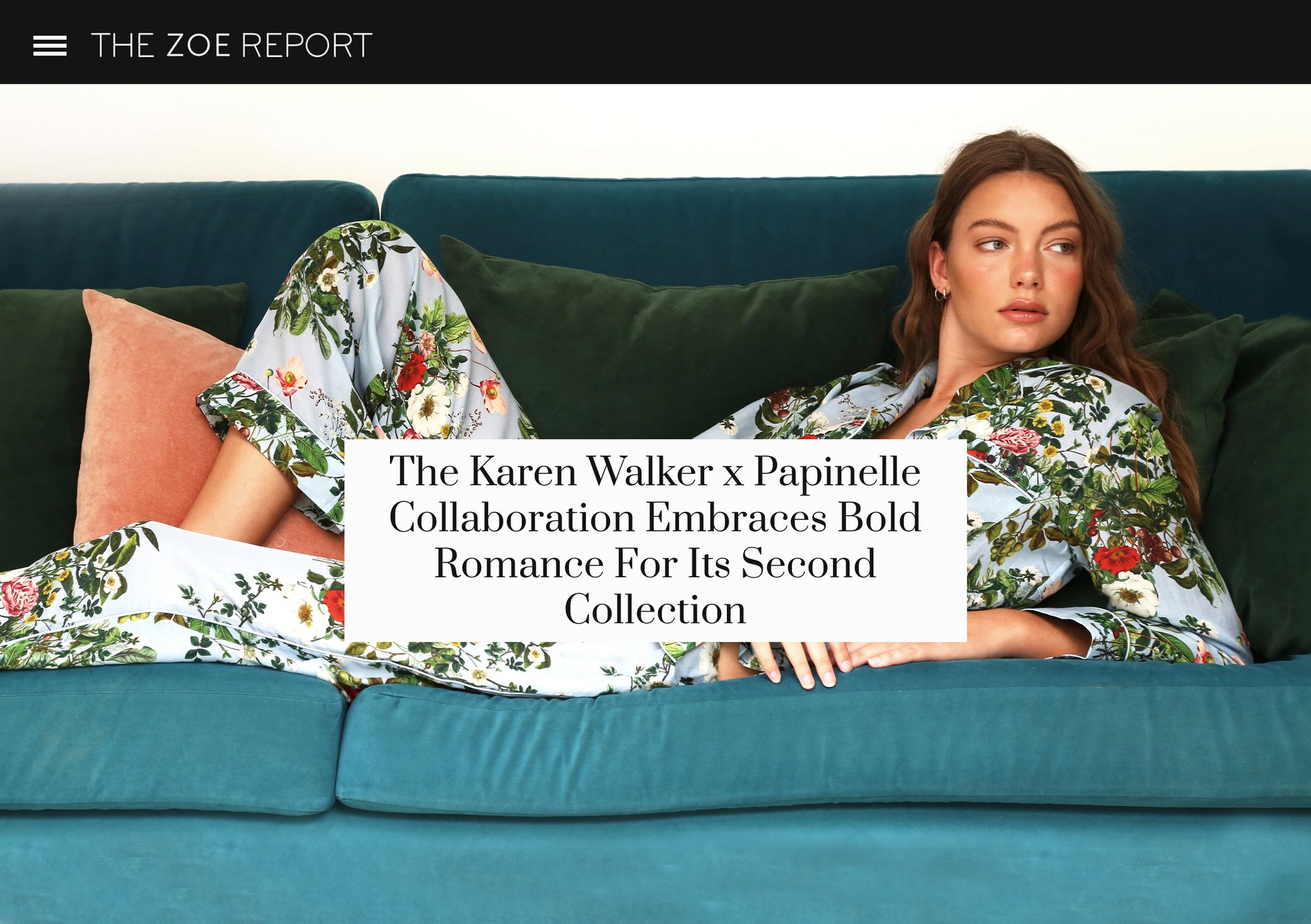 screenshot of the zoe report article on papinelle karen walker collaboration
