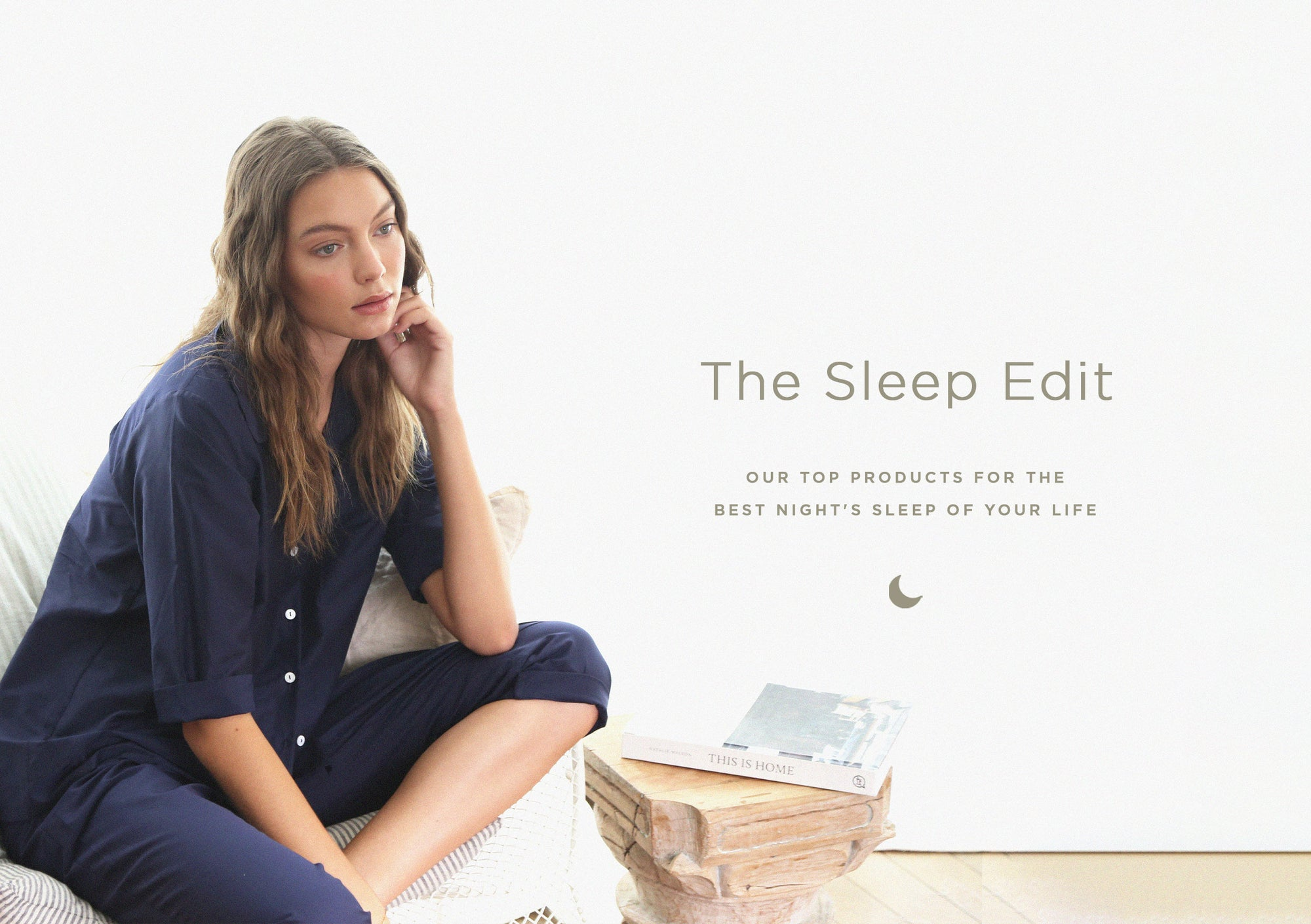 The Sleep Edit Classic Crop Pajama in Navy