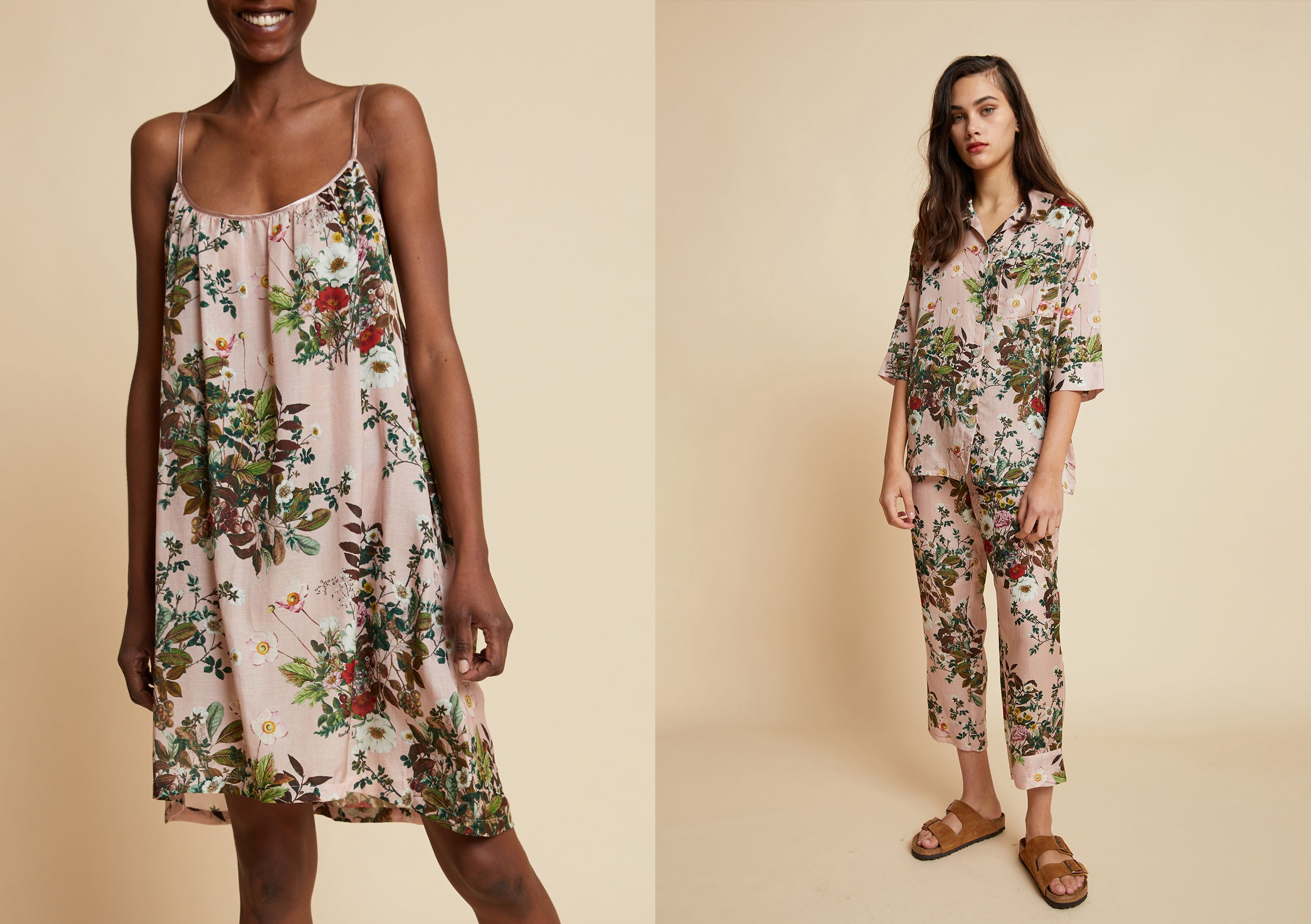 Papinelle x Karen Walker Love Letter Floral Nightgown and Crop PJ in Pink
