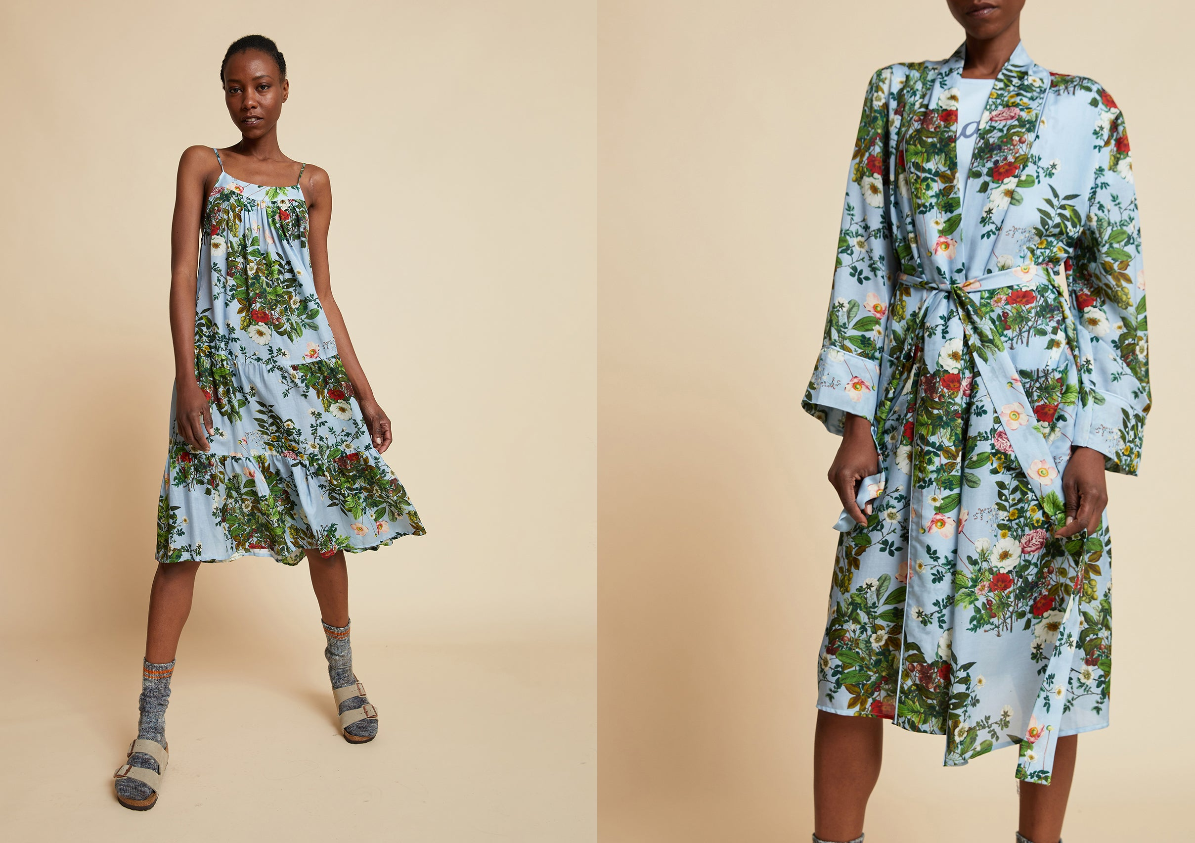 Papinelle x Karen Walker Love Letter Floral Tiered Nightgown and Robe in Blue