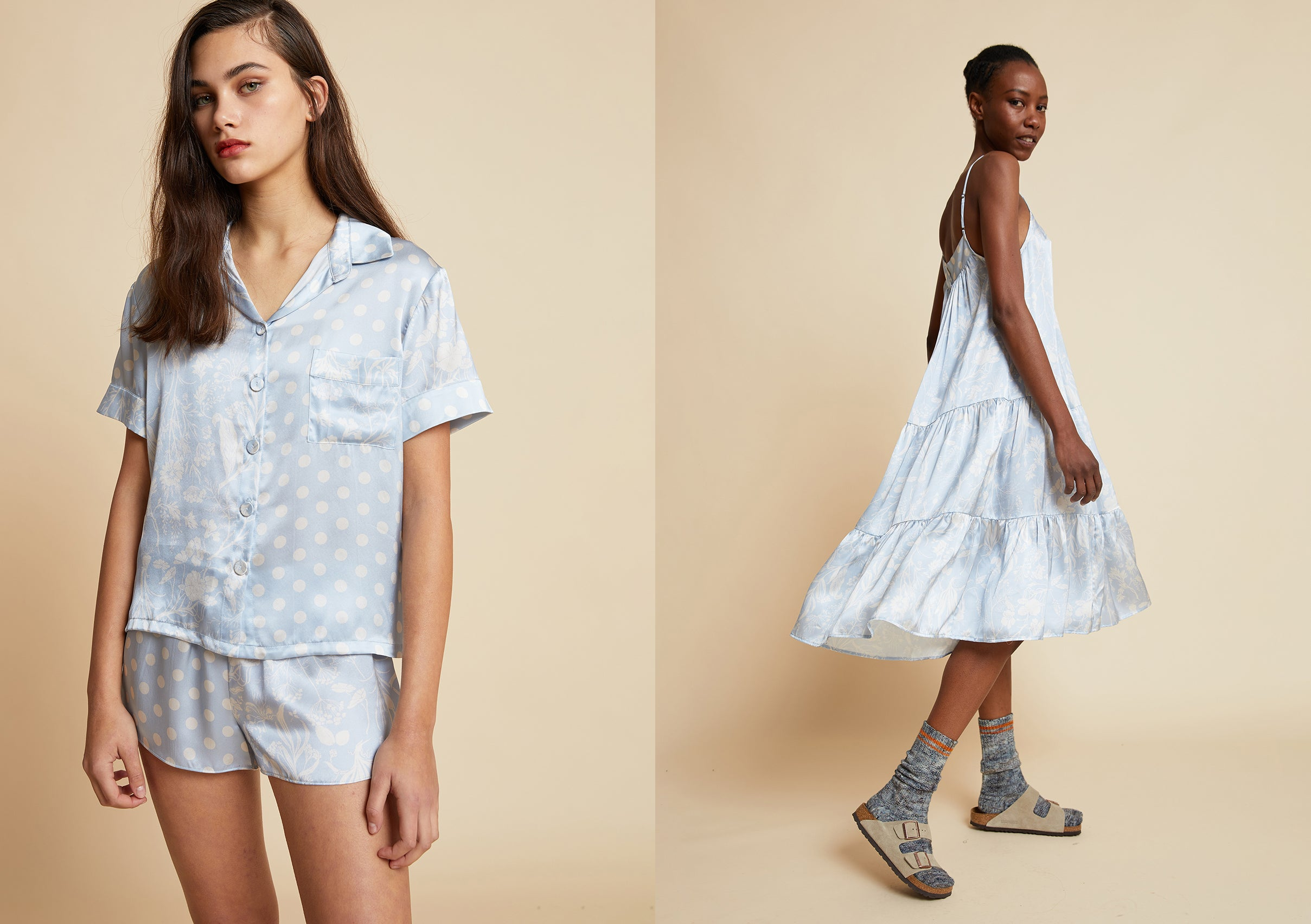Papinelle x Karen Walker Spliced Ivy Boxer PJ and Tiered Nightgown