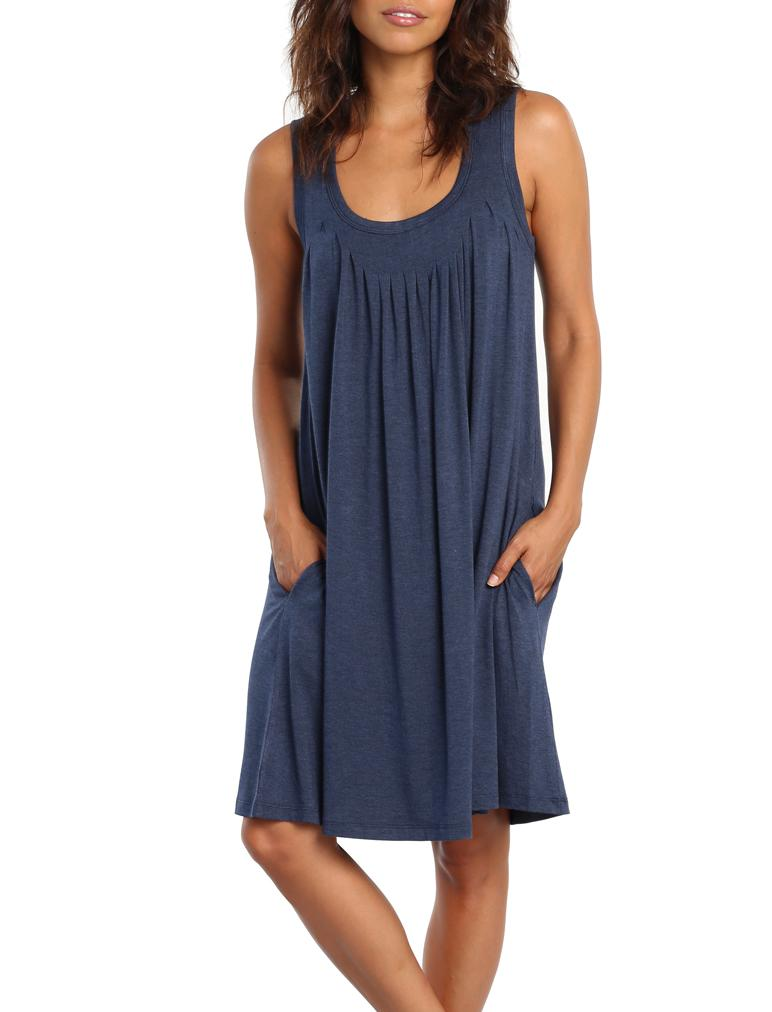 Modal Pleat Front Nightie Navy
