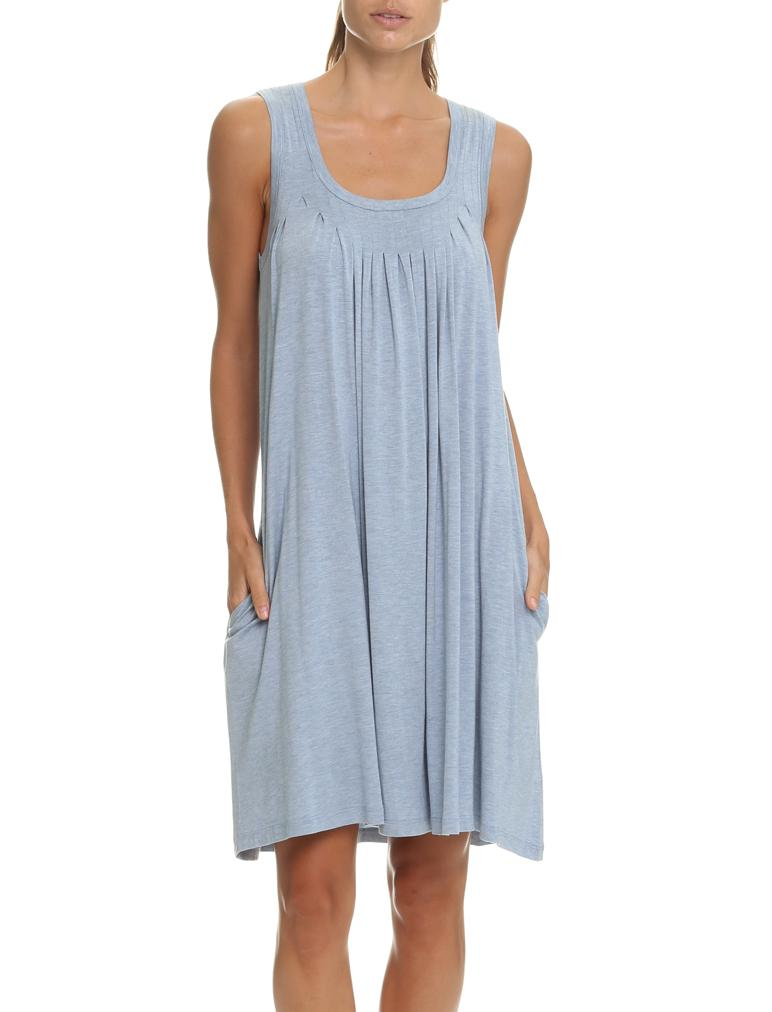 Modal Pleat Front Nightgown in Blue Grey
