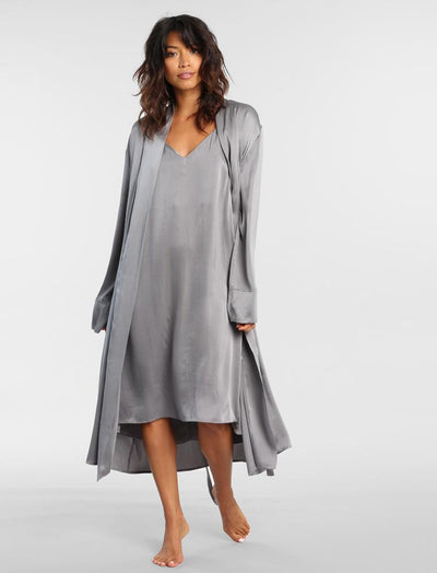 Pure Silk Long Robe in Charcoal