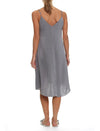 Pure Silk Slip Nightgown in Charcoal