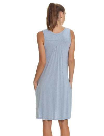 Modal Pleat Front Nightgown, Blue Grey
