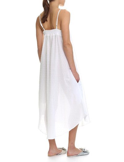 Swiss Dot White Maxi Nightgown