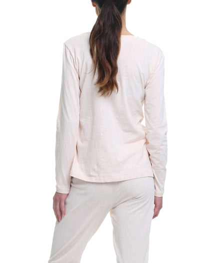 Cotton Long Sleeve Top in Soft Pink