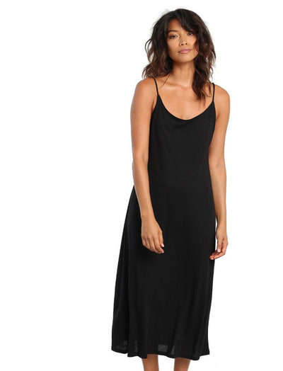 Basic Maxi Knit Nightgown in Black