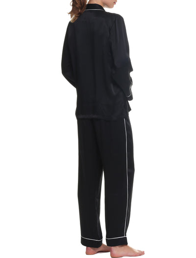 Washable Silk Piped PJ in Black