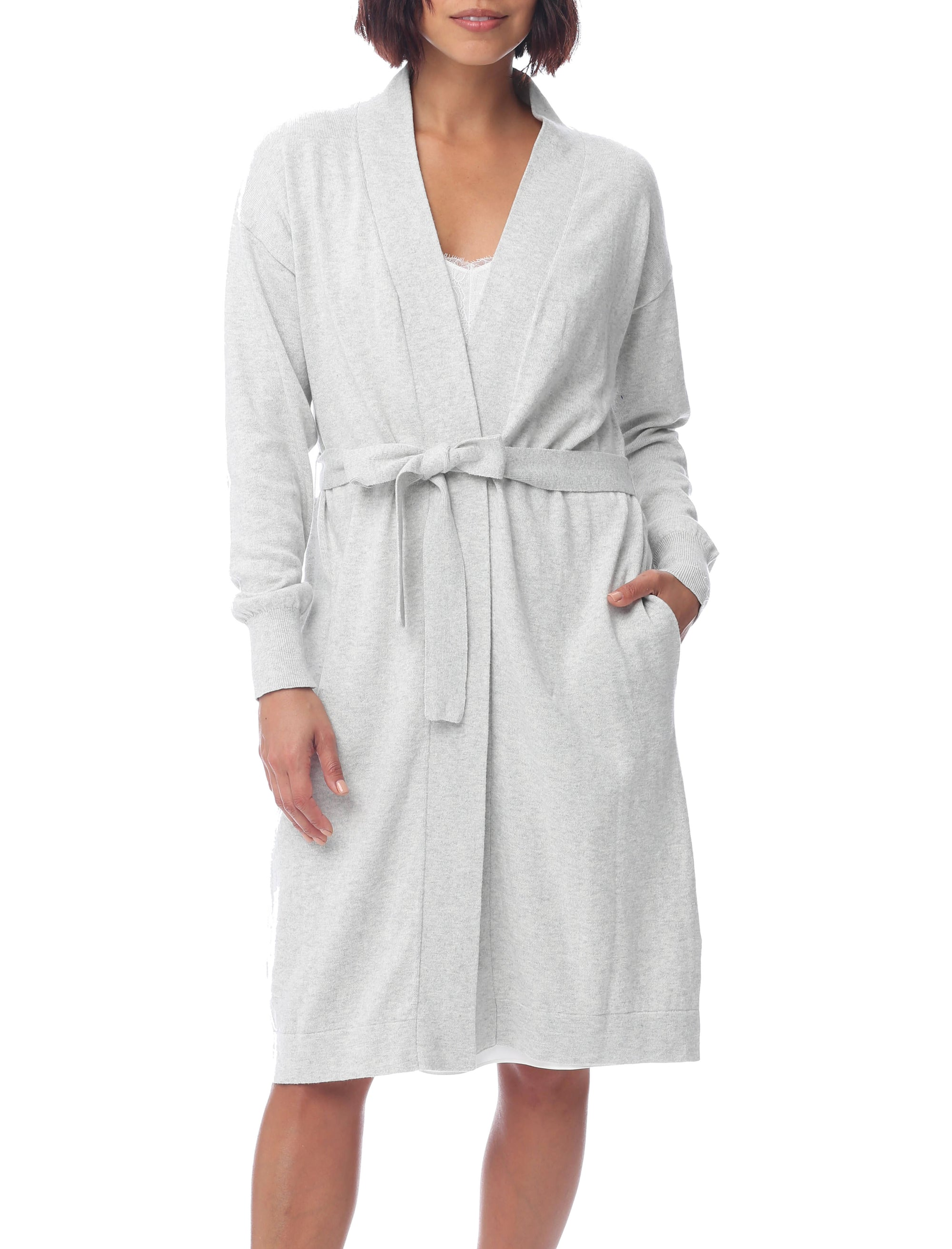 Brianna Cotton Knit Robe, Grey