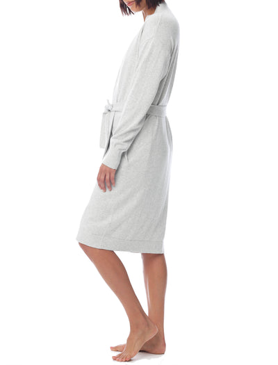 Brianna Cotton Knit Robe in Grey