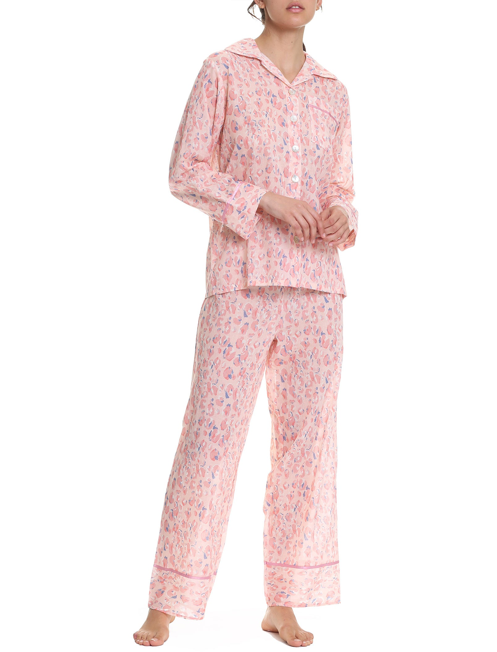Cheetah Pink Full Length Pajama Set